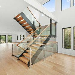Escalier en bois d'acier droites avec balustrade en verre trempé