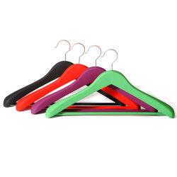 고급 맞춤형 브랜드 의류 로고 고무 코팅 목재 코트 걸이