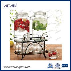 La Chine moderne la vente en gros distributeurs d'eau 9pcs avec fer Rack Pot-Kettle de verre
