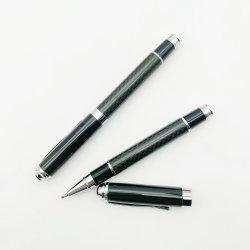 Penna della fibra del carbonio personalizzata marchio di lusso pesante della penna di sfera del rullo del metallo