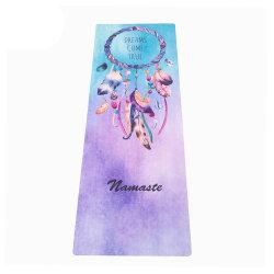 Anti stuoia di yoga stampata slittamento lavabile della gomma naturale del contrassegno privato della pelle scamosciata