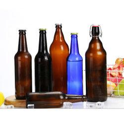 Comercio al por mayor 1L 500ml frasco de vidrio ámbar Brown Botella de Cerveza de vidrio/ Agua Beber botella con tapa basculante Flip-Top de silicio