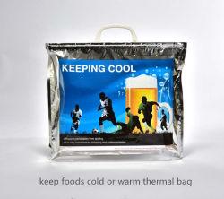 플라스틱 손잡이가 있는 알루미늄 호일 방열 백 얼음 보관 백 절연 비치 푸드 방수재 내구성이 뛰어난 야외 피크닉 가방