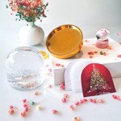ماء صافية تماما 8.5*9 سم وردي جلتر ماء كرة أرضيّة [روس] إطار صور عيد الميلاد الذهبي