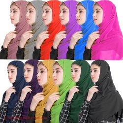2020 Kaftan Hijab Baju islamique de gros de l'été Hijab châle instantanée Tudung Aisha Hijab Baju Prom Night Long de la soie Mesdames Baju Hijab formelle Turban Hijab simple