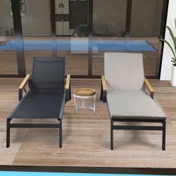 Goedkope Pool Beach ligstoel Mesh Aluminium Chaise Lounge Outdoor Stoel