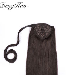 100% menselijk Remy Hair Premium hittebestendig synthetisch draw Ponytail Haarverlenging