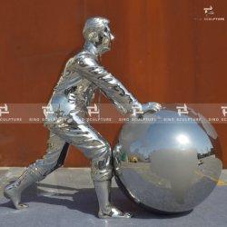 Globo de acero inoxidable pulido espejo estatua