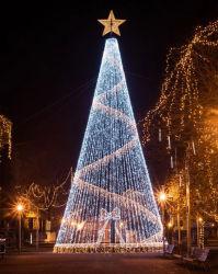 金属ステンレススチール製の大きなクリスマスツリー装飾、 LED ライト付き