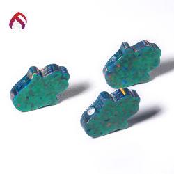최신유행 보석을%s 도매에 의하여 공작 녹색 합성 단백석 공상 Hamsa 주문을 받아서 만들어지는 펜던트