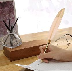 선물 상자 포장 공작 기털 펜 세트를 가진 포도 수확 거위 기털 펜 또는 기털 만년필
