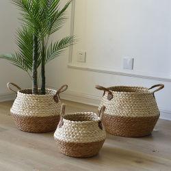 천연 화분 시커스 위커 바구니 홈 장식 정원 세탁 대나무 갈매기 바구니