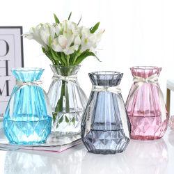 簡単で小さい口縦のしまのあるカラーつぼのガラス花つぼのホーム装飾