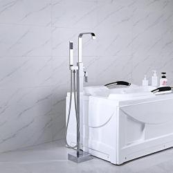 아제타 스퀘어 크롬 욕조 믹서 탭 브라스 욕실 코퍼 바닥 마운트 프리샌딩 욕조 필러