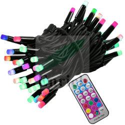 El cable de caucho negro de 10m exterior conectable Fairy 100 luces LED de color RGB - cambiable