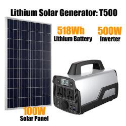 Kit Solar Móvil 140000mAh 518wh batería de ion litio de reserva de energía Fuente de alimentación portátil 500W 110V Solar Power Station UPS
