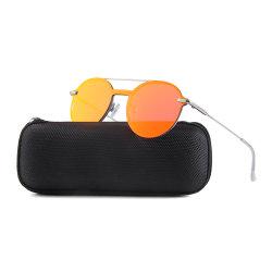 2018 Les femmes de forme ronde rouge miroir de métal du châssis de l'objectif des lunettes de soleil de luxe pour dames