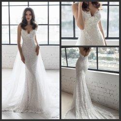 Spitze-bräutliches formales Kleid-abnehmbare Panel-Endstück-Nixe-Hochzeits-Kleider E13907