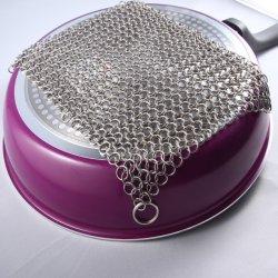 Racloir Pan Pot nettoyant en fonte Cuisine en acier inoxydable réutilisables de tampon d'épurateur