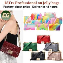 多彩な女性デザイナーCrossbodyの方法女性財布の女の子はPVC小型女性財布およびハンドバッグの小さいゼリーの財布を取り除くPurse Candy Silicone Coin