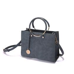 Prix bon marché gris cuir synthétique avec un grand cercle métallique Poignée Lady sac à main