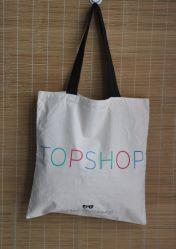 طباعة مخصصة مقبض طويل ترويجي Tote Shop Calico Cotton Canvas حقيبة تسوق