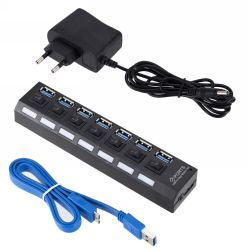 Mozzo Port dell'interruttore acceso/spento USB3.0 7 ad alta velocità del mozzo del USB del mozzo del USB 3.0 multi per il telefono astuto con l'adattatore di potere
