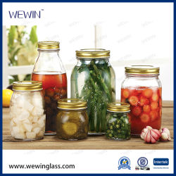 Contenitori in vetro per l'ingrosso vaso per la conservazione di alimenti in vetro trasparente ermetico Bottiglia in vetro con coperchio metallico con clip bottiglia in vetro