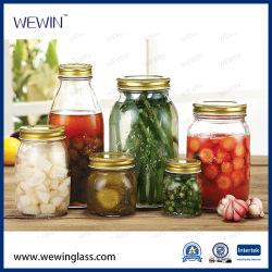 도매 유리 그릇은 금속 클립 뚜껑 유리병을%s 가진 완벽한 밀봉 유리 음식 저장 단지를 지운다