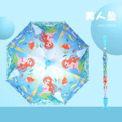 새로운 스탠드 디자인 어린이 방수 비 및 선우산 안전 마울 오픈 커스텀 카툰 인쇄, 키즈용 선물 우산 TS-Zl003 모델