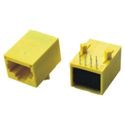 Jaune en plastique de connecteurs RJ45 femelle jack modulaires avec transformateur
