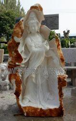 Statue du Bouddha de marbre blanc pour l'extérieur Jardin de sculpture (sy-T155)