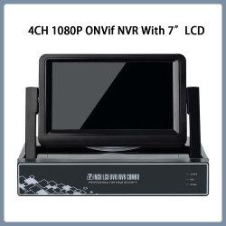監視用 4CH 1080p P2P ビデオ ONVIF NVR ( 7 インチ) LCD