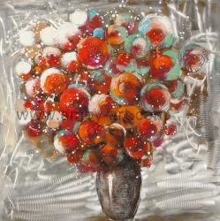 중유를 가진 짜맞춰진 장식적인 빨간 꽃 유화