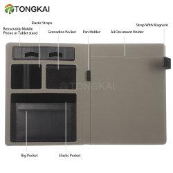 A4 couvercle noir en cuir gaufré Padfolio Multi-Ply Dossier de l'organiseur du portefeuille