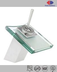 Quadrado de vidro temperado Banheiro Cascata Bowl torneira da pia deck montado batedeira toque