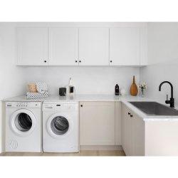 China Factory Outlet de alta qualidade, estilo moderno mobiliário doméstico PVC personalizado à prova brilhante sala de lavandaria armário do dissipador de armazenamento
