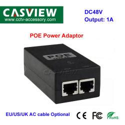 CCTV PoE 전원 어댑터 출력: 1A, DC48V PoE 벽면 플러그 PoE 인젝터 이더넷 어댑터 IP 카메라 전화 PoE 전원 공급 장치 us EU 플러그