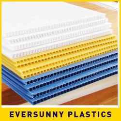 백색 색깔 PP 빈 Polyphenylene Correx Conflute Coroplast는 플라스틱 플라스틱에 의하여 플루트를 불ㄴ 폴리프로필렌 Cartonplast 폴리탄산염 Twinwall 벌집 장을 주름을 잡았다