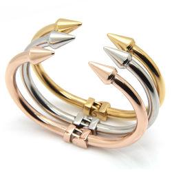 Rivet pointe conique Fashion Bangle Bracelet en acier Titane Mesdames clou