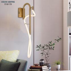 Nordic Metal moderno dormitorio de Oro de la luz de leds
