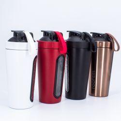 Acero inoxidable de alta calidad 700ml botella agitador agitador de la proteína transparente con las escalas de acero inoxidable de la Copa Coctelera