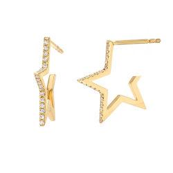 La stella aperta pavimentata la CZ d'argento dei monili delle donne di modo 925 su ordinazione fissa gli orecchini