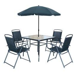 옥외 가구 6 PCS 세트를 위한 의자 원탁 식사를 가진 옥외 정원 가구 세트