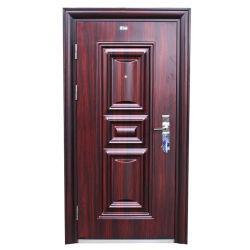 Directa de Fábrica de precio de la puerta de hierro forjado de hierro de alta calidad de la puerta de seguridad de diseño de moda elegantes diseños de una sola puerta de madera