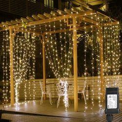 زينة عيد الميلاد 306 مصابيح LED الستائر لنافذة غرفة النوم الجدار معلقة خيطان أضواء لحفلة زفاف خلفية فناء حفلة عيد ميلاد، شمعة في الهواء الطلق
