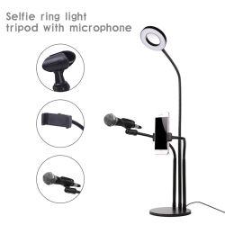 Luz LED Deluxe Live Streaming Video Selfie Soporte Soporte del teléfono de la luz de la emisión en directo con 3 luces 10 marchas brillo