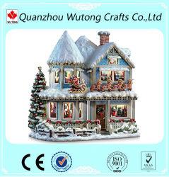 Commerce de gros de l'artisanat Décoration de Noël de la résine de lumière LED Maison de Neige