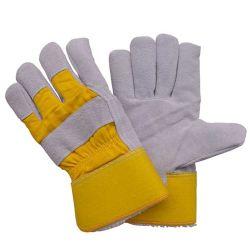Giallo Inverno mantenere il riscaldamento Fodera in pile piena pelle a pozza Guanti da lavoro di sicurezza per le mani Rogger