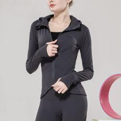 Chaqueta con cremallera Long-Sleeved Fitness Entrenamiento con capucha se adaptan a las mujeres ropa deportiva